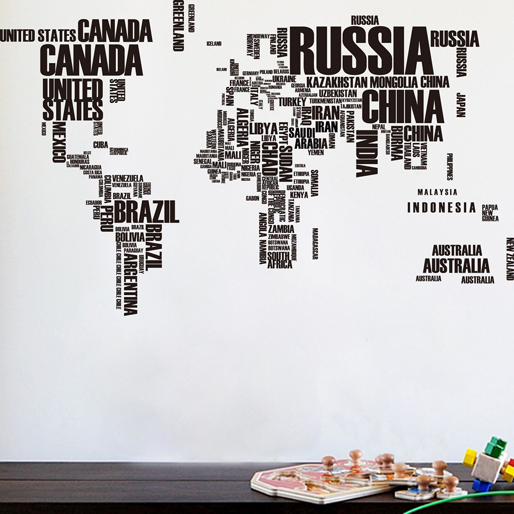 World Map Removable Wall Sticker.Girl12queen Creative Letters Style World Map Removable Wall Decal
