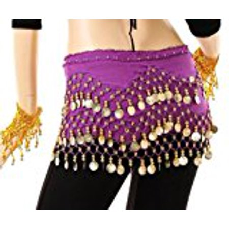 Choli Belly Dance - Purple Belly Dance Skirt With Gold Coins (Great Gift Idea) Purple