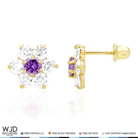 - 14k Solid Yellow Gold Diamond & Amethyst Flower Screwback Stud Earrings 2Ct