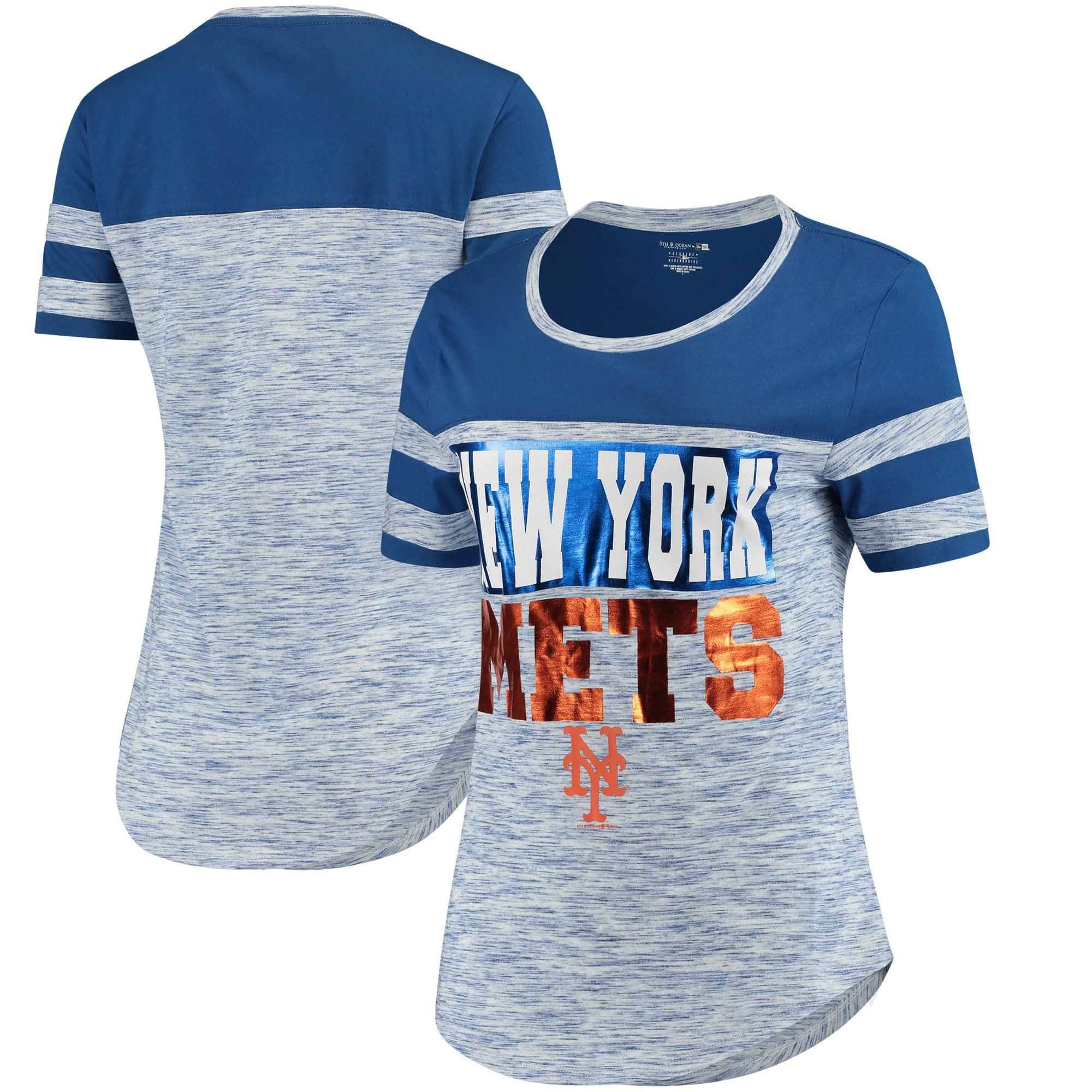 New York Mets 5th & Ocean by New Era Women's Space Dye Crew T-Shirt - Royal