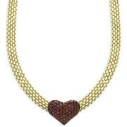 Gold Overlay Garnet Heart Necklace