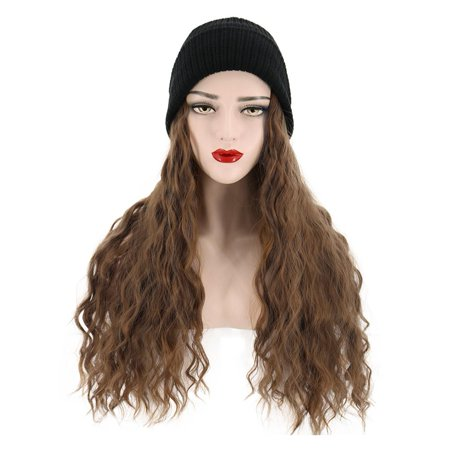 Synthetic Wig with Beanie Wool Hat Fashion Wig Hats with Hair Extensions  Brown Hair Attached for Women | Walmart Canada
