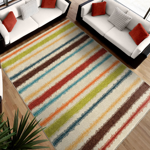 Orian Rugs Lines Of Color Area Rug, Multi Color