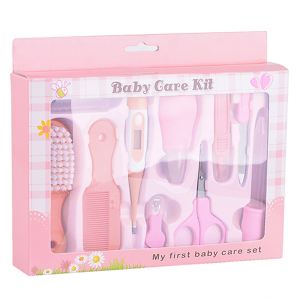 10PCS Infant Kids Care Kit Baby Grooming Health Hair Care Products Kits Newborn Gift Box ( Nail Clipper Set Thermometer Brush Scissors Comb etc) Pink