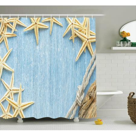 Seashells Decor Shower Curtain Set, Seashells Rope Maritime Beach Theme Shellfish Wooden Board Romance Vintage Holiday Marine, Bathroom Accessories, 69W X 70L Inches, By Ambesonne
