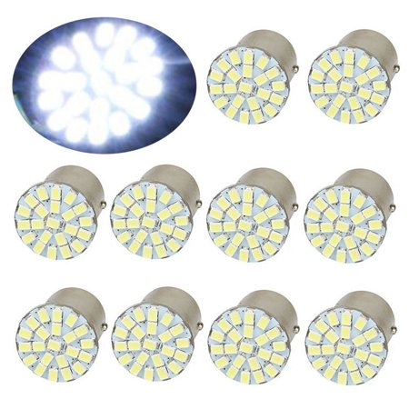 10x 1157 BAY15D 22-SMD LED Car Tail Brake Stop Backup Reverse Light Bulbs (Pure White)