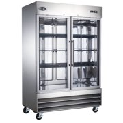"Heavy Duty Commercial 47"" Stainless Steel Glass Door Reach-In Freezer (2 Door) by SABA"