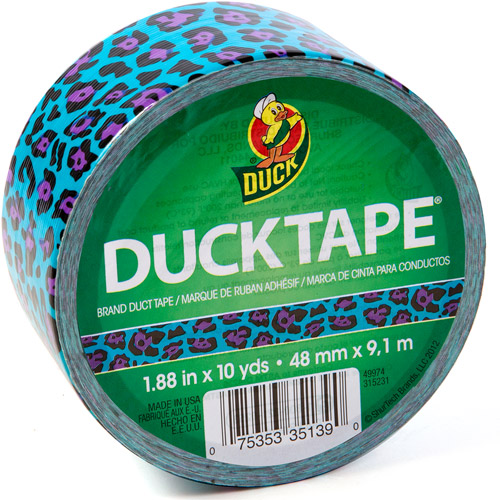 "Duck Brand Duct Tape, 1.88"" x 10 yard, Blue Leopard"