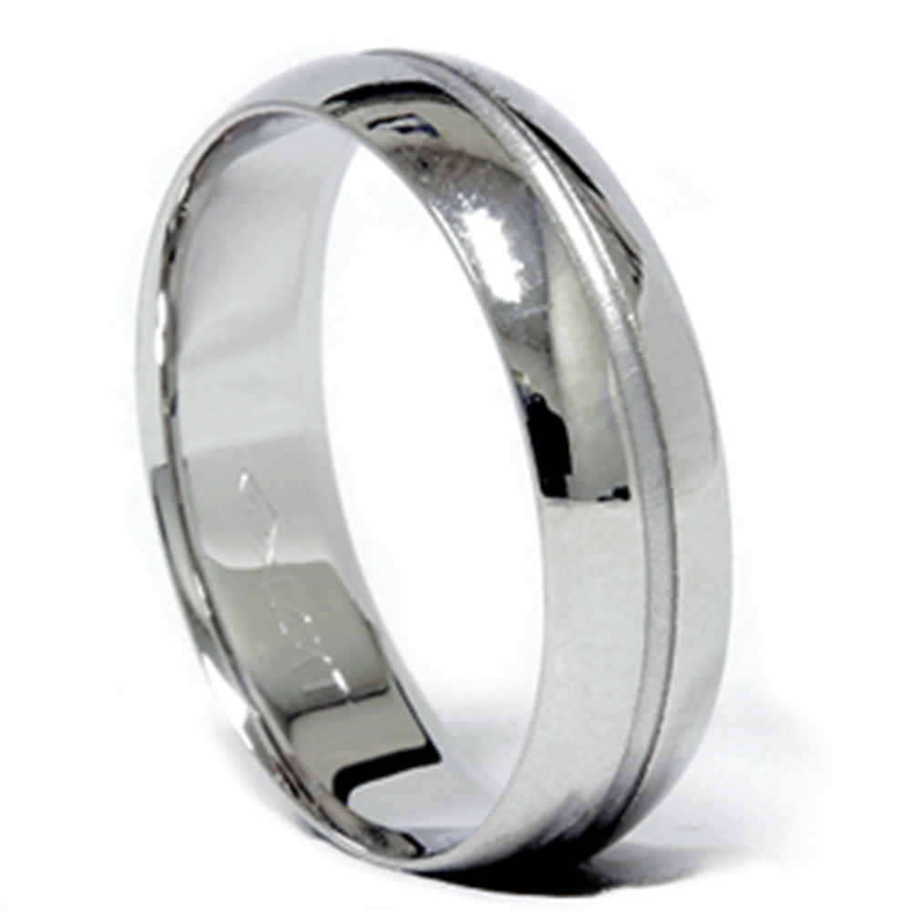 Channel Wedding Band 14K White Gold