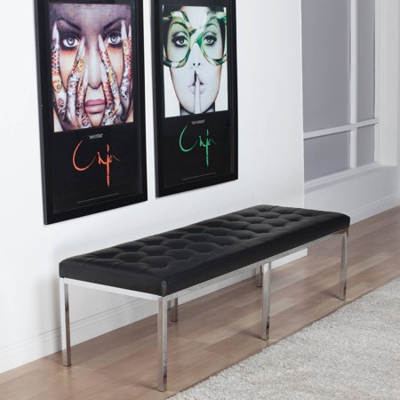 "Home Lintel Tufted Bonded Leather Bench 60"" - Black - Studio Designs"