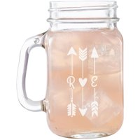 Personalized Initial Arrow Mason Jar, Individual or Set of 2