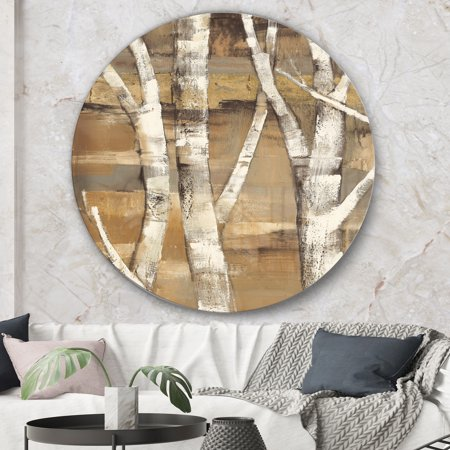 Designart Natural Birch Forest Ii Traditional Metal Circle Wall Art Walmart Canada