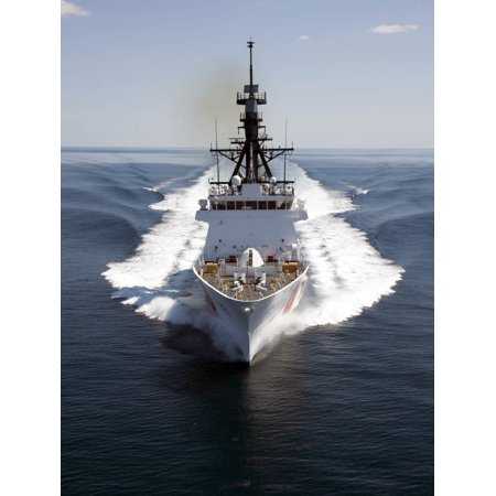 United States Coast Guard National Security Cutter Waesche demonstrates quick maneuvers in the Gulf of Mexico at the end of the ships successful acceptance trials Poster