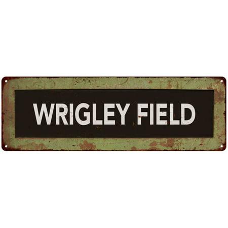 WRIGLEY FIELD Trollery Bus Roll Vintage Metal Sign 6x18 (Wrigley Field Metal)