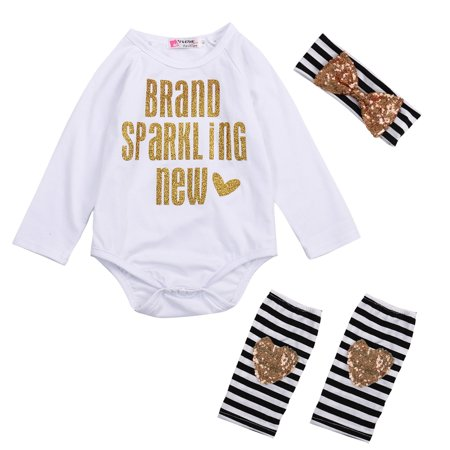 3PCS Outfit Sets Newborn Toddler Baby Girl Long Sleeve Clothes Romper + Leg Warmers + Bow (Beco Gemini Newborn Legs In Or Out)