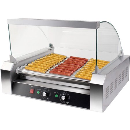 Costway Commercial 30 Hot Dog 11 Roller Grill Cooker Machine W/ cover CE - Hot Dog Wholesale Prices