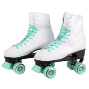 C7 Classic Roller Skates | Retro Soft Boot With Faux Leather | Speedy Quad Style For Men, Women And Kids (Mint / Youth 1)