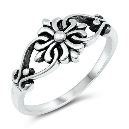 Oxidized Sterling Silver Swirl Fleur De Lis Cross Ring Size 8