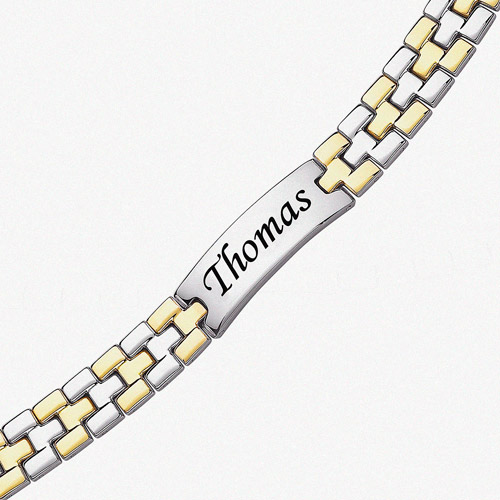Personalized 2-Tone Stainless Steel Engraved ID Bracelet, 9""