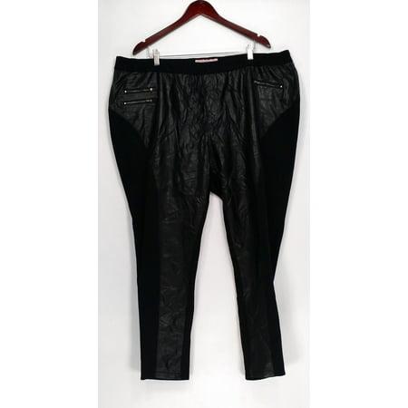 Plush Black Leather (Nicole Richie Collection Plus Leggings 26W Faux Leather Motorcycle Black A257610 )