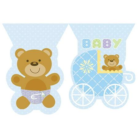 Baby Shower 'Teddy Baby Blue' Plastic Flag Banner (12ft)](Bulk Flags)