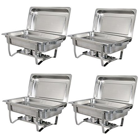 Zeny 4 Pack Premier Chafers Stainless Steel Chafing Dish 8 Qt. Full Size Buffet Trays