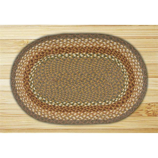 Capitol Importing 02-023 Mustard-Ivory - 20 inch x 30 inch Oval Braided Rug