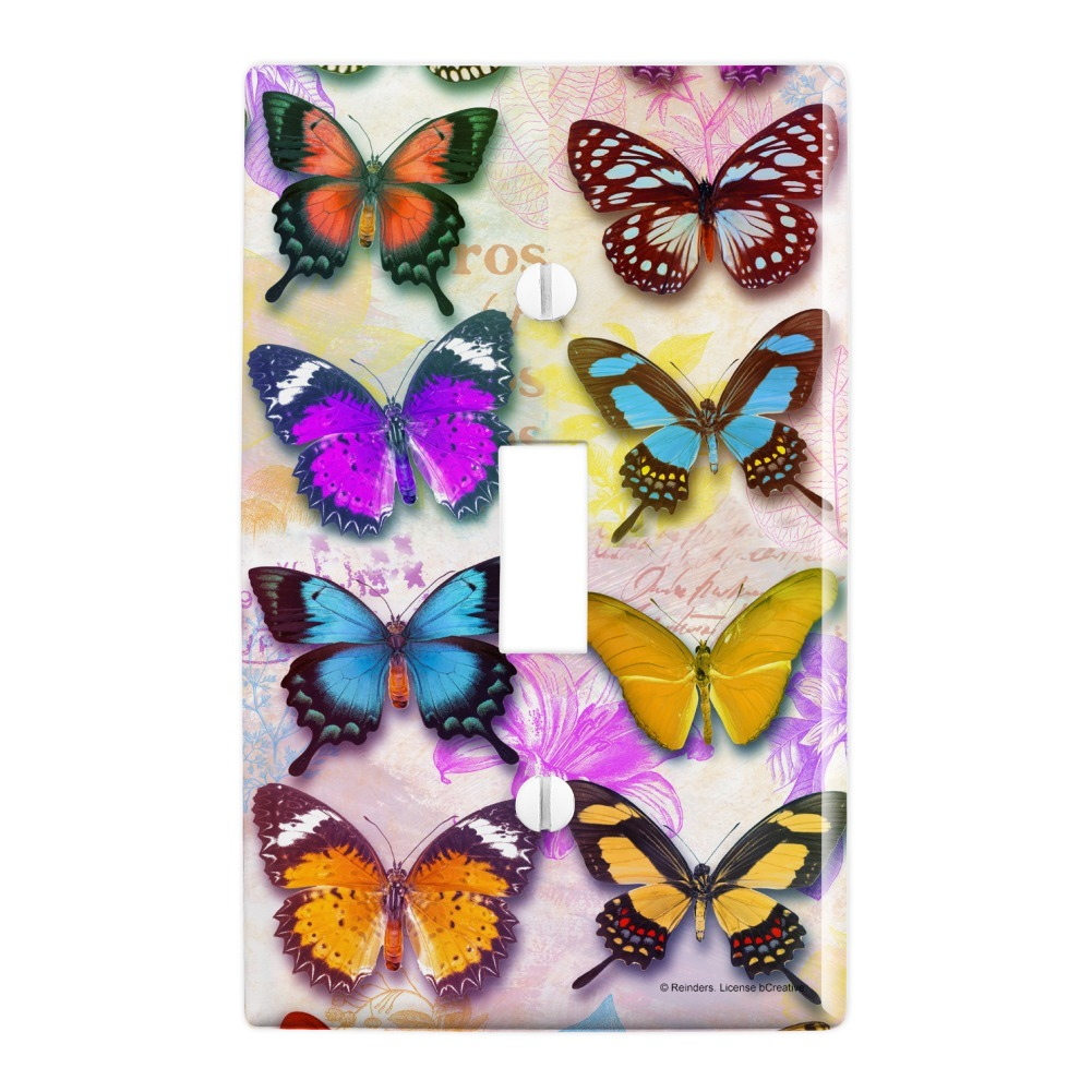 Colorful Butterflies Butterfly Design Plastic Wall Decor Toggle Light Switch Plate Cover Walmart Com Walmart Com