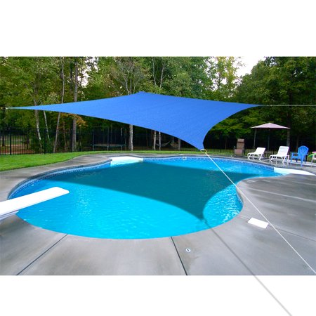 Alion Home Rectangle Blue Sun Shade Sail For Patio Pool Deck Porch Garden with 6'' Stainless Steel Hardware Kit  10' x 13' ()
