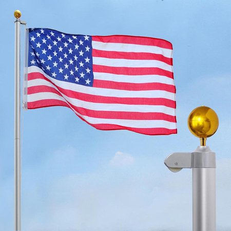 - Yescom 25 FT Upgraded Sectional Aluminum Flagpole 15 Gauge 24-30mph 3'x5' US American Flag Ball Fly 2 Flags Outdoor