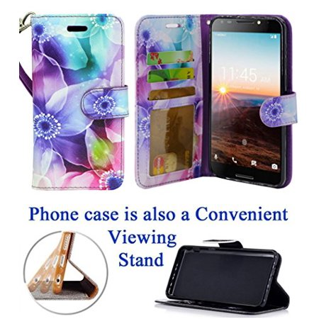 "for 5.5"" T-Mobile REVvL REWL Alcatel Walters Case Phone Case Painted Wallet Kick Stand Hybrid Pouch Purse Screen Flip Cover Hibiscus"