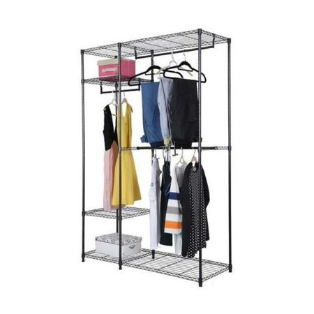 4 Tiers Iron Clothes Hanger Shelf Clothing Storage Rack Shoes Organizer Black If you are looking for a clothing storage rack, you can take this 4 Tiers Clothing Storage Rack into consideration. This clothing storage rack is made of high quality iron, which is sturdy and durable. Its design of 4 tiers is very practical, so that you can put a lot of clothes in it. And it also has a strong bearing capacity, which is not easily deformed. Thus, your room will no longer in a mess by using this practical and convenient clothing storage rack.Features:1. Made of high quality iron, sturdy and durable2. Design of 4 tiers, can store a lot of clothes3. Strong bearing capacity, not easily deformed4. Practical and convenient for use5. Easy to installSpecifications:1. Material: Iron2. Color: Black3. Overall Dimensions: (47.25 x 17.72 x 70.87)  / (120 x 45 x 180)cm (L x W x H)4. Weight: 25.17 lbs / 11.42 kg5. Weight Capacity: 70 lbs / 31.75 kgPackage Includes:1 x Clothing Storage Rack