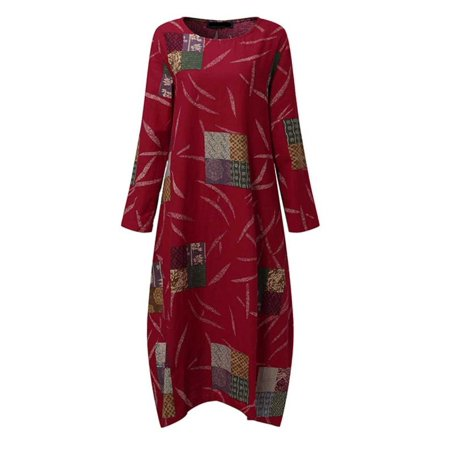 298c76bbcab31 VONDA - Maternity Dress Long Sleeve Retro Print Dresses - Walmart.com