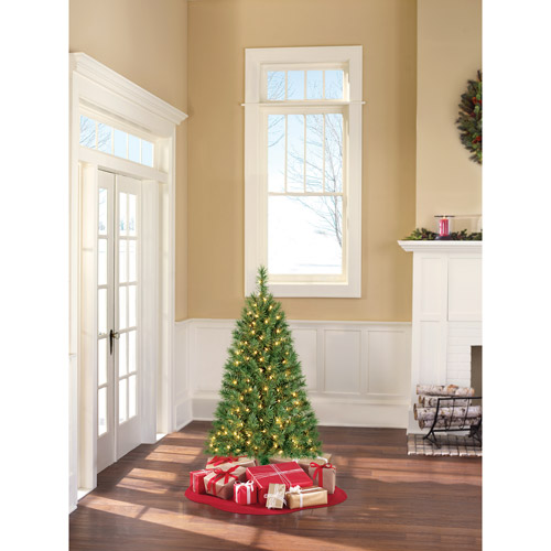 Holiday Time Pre-Lit 4' Indiana Spruce Artificial Christmas Tree, Clear Lights