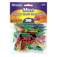 Bazic 50 Ct. Mini Colored Clothespins Set