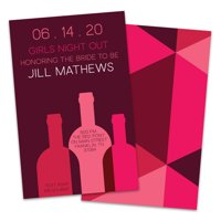 Personalized Pink and Maroon Wine Bottles Bachelorette Party Invitation
