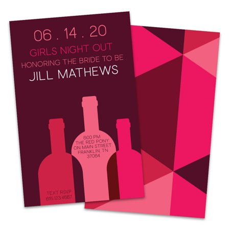Personalized Pink and Maroon Wine Bottles Bachelorette Party Invitation - Personalized Hennessy Bottle