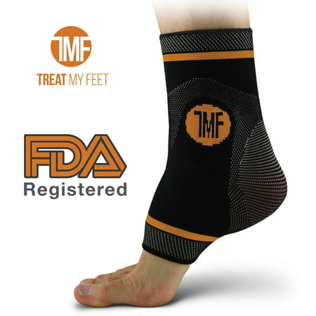 Ankle Injury Treatment (Best Copper Infused Compression Ankle Brace, Silicone Ankle Support w/ Anti-Microbial Copper. Plantar Fasciitis, Foot, & Achilles Tendon Pain Relief. Prevent and Support Ankle Injuries & Soreness - M)