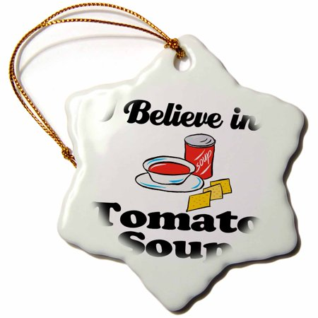 3dRose I Believe In Tomato Soup, Snowflake Ornament, Porcelain, - Tomato Ornament