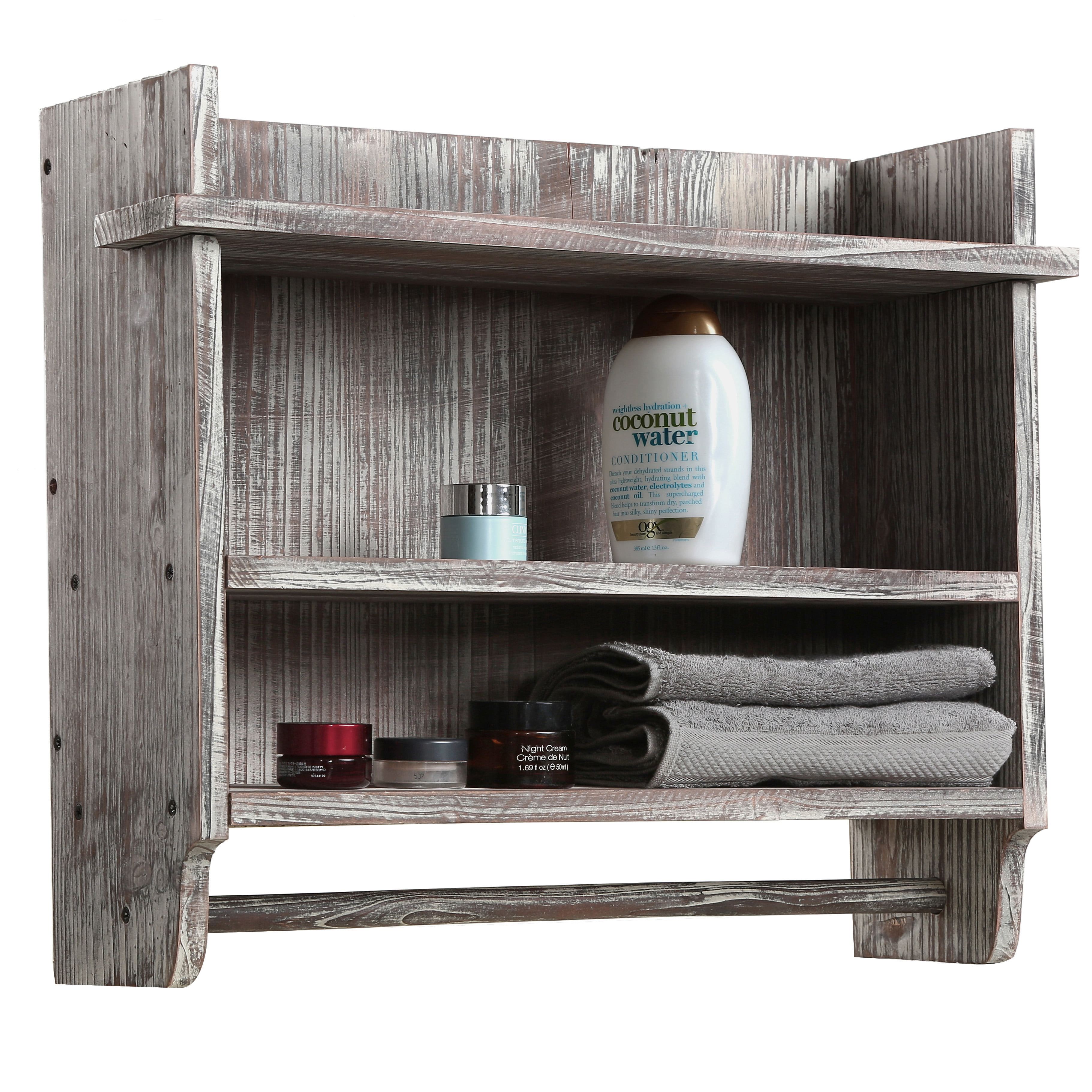 Torched Wood Wall Mounted Bathroom Organizer Rack With 3 Shelves And Hanging Towel Bar