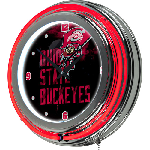 Ohio State Smoking Brutus Chrome Double Ring Neon Clock