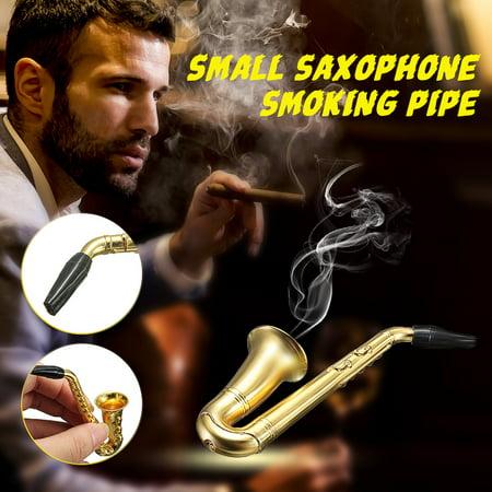 Fashion Small Saxophone Smoking Pipe Weed Tobacco Pipe Metal Pipes + Mesh Filter for Men - image 8 de 8