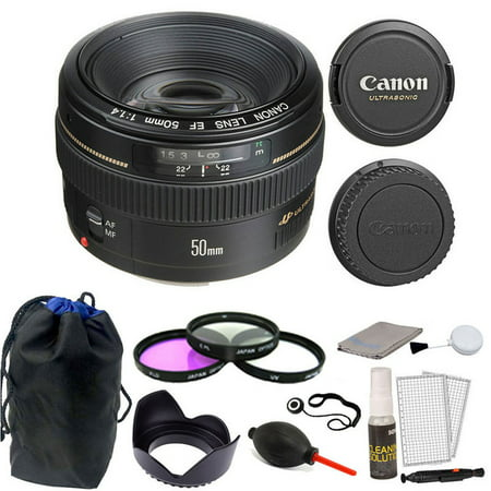 Canon EF 50mm f/1.4 USM Autofocus Lens with Accessories for Canon T6S 80D 70D