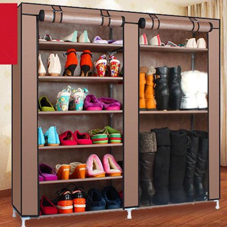 Zimtown Double Shoe Closet Rack Shelf Storage Organizer Cabinet  9 Lattices Coffee ()