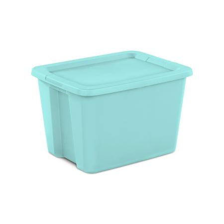 Sterilite 18 Gal. Tote Box Bleached Teal