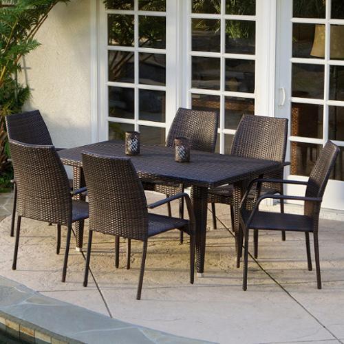Vander Brown Wicker 7-piece Outdoor Dining Set