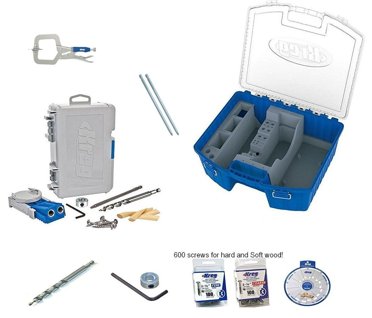 Kreg R3 Pocket Hole Jig KTC55 Storage box clamp 300 screws SSW extra bit collar by Kreg