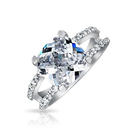 - Classic Split Shank Cubic Zirconia Antique Style Solitaire Cushion Cut CZ Promise Engagement Ring 925 Sterling Silver