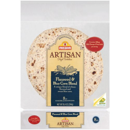 Mission Artisan Style Flaxseed & Blue Corn Blend Tortillas, 8ct