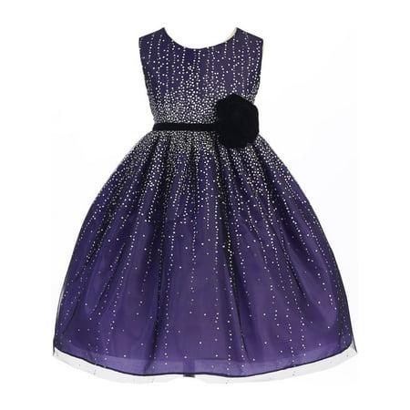 f7dc7c89f5 Crayon Kids Girls Purple Velvet Flower Sash Sequin Dress 7/8